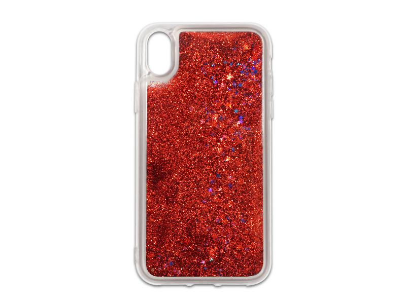 Apple iPhone XS Max – etui na telefon Liquid Glitter – czerwony
