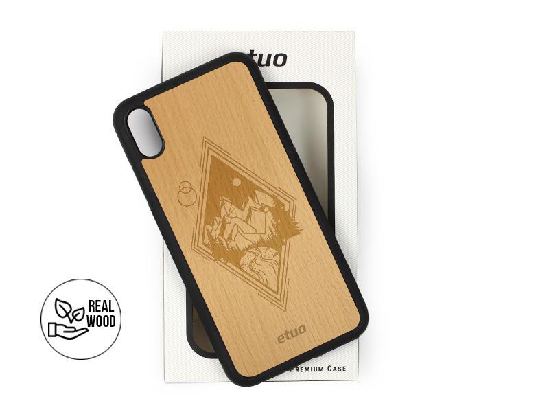 Etui na telefon Wood Case – buk – górski widok