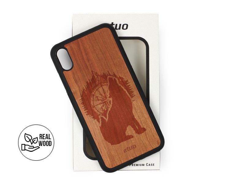 Etui na telefon Wood Case – czereÅ›nia – górski wilk