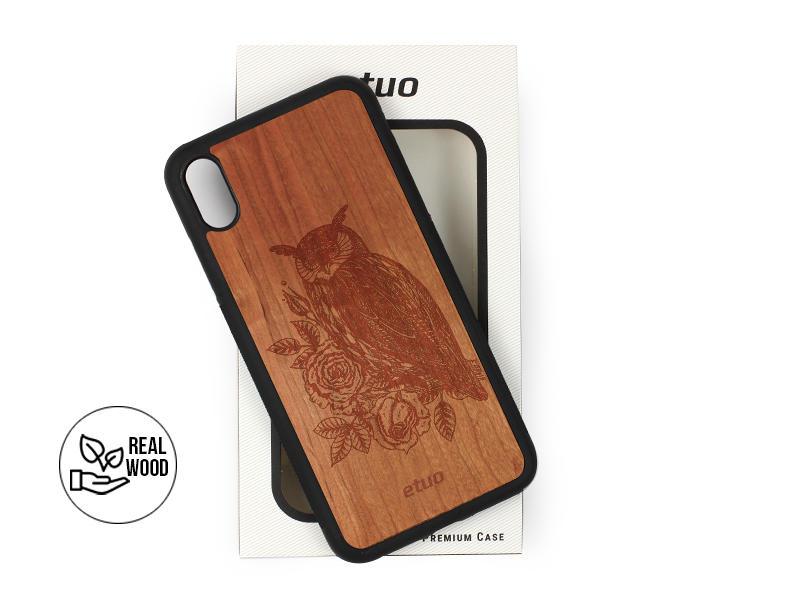 Etui na telefon Wood Case – czereÅ›nia – sowa