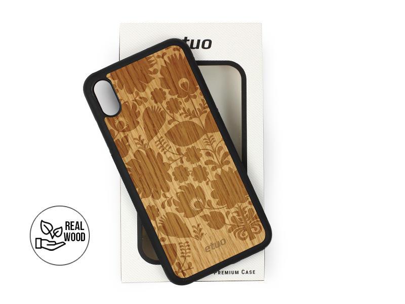 Etui na telefon Wood Case – dąb – łowickie kwiaty