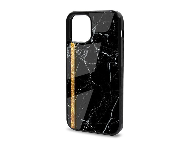 Etui na telefon Glossy Case – Marble GOLD – Czarny marmur ze zÅ'otym paskiem