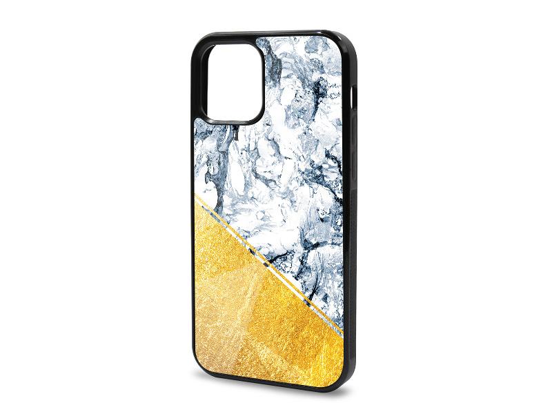 Etui na telefon Glossy Case – Marble GOLD – BÅ'Ä™kitny marmur ze zÅ'otÄ… aplikacjÄ…