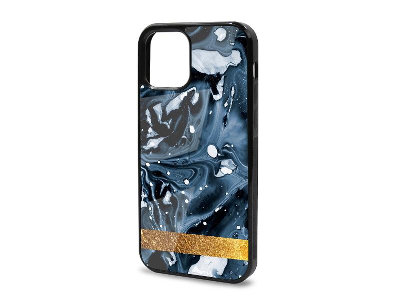 Etui na telefon Glossy Case – Marble GOLD – Niebieski marmur ze złotym paskiem