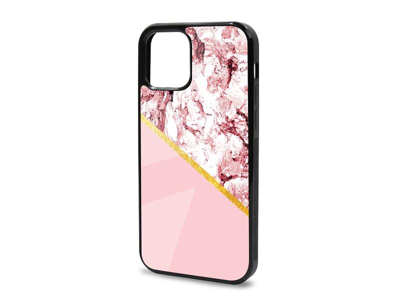 Etui na telefon Glossy Case – Marble GOLD – Różowy marmur ze zÅ'otym paskiem