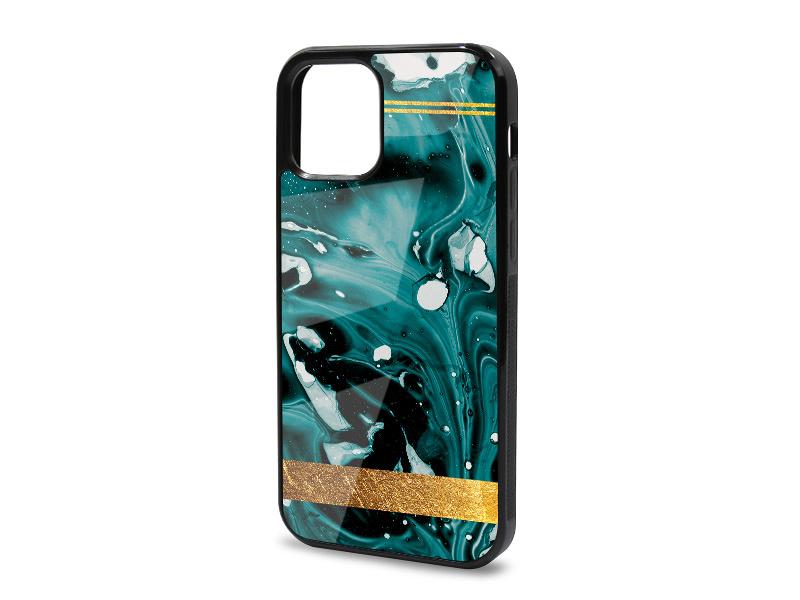Etui na telefon Glossy Case – Marble GOLD – Zielony marmur ze zÅ'otym paskiem