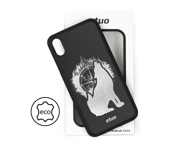 Etui na telefon Leather Case – czarny – górski wilk