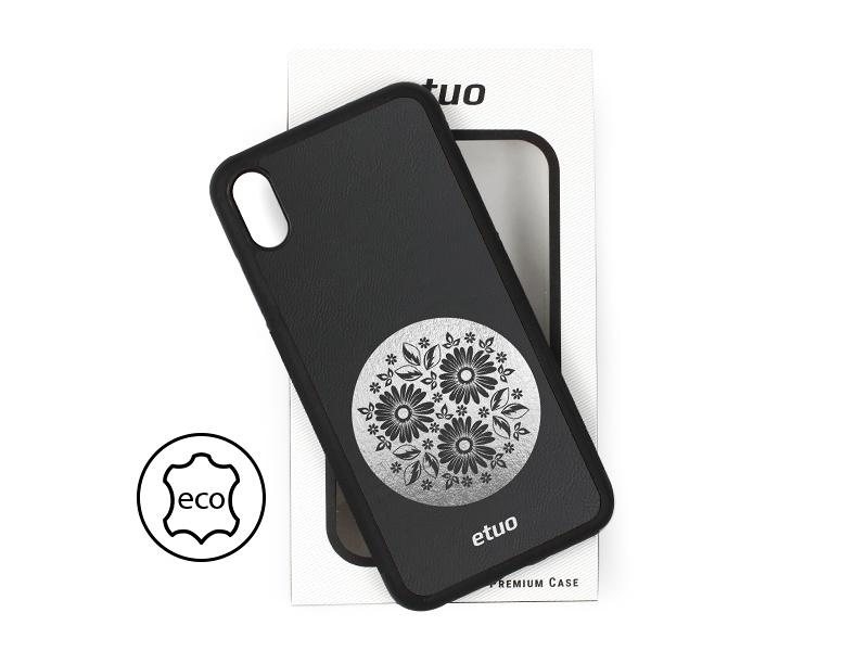 Etui na telefon Leather Case – czarny – kwiaty
