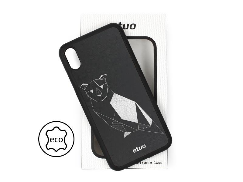 Etui na telefon Leather Case – czarny – geometryczna sowa