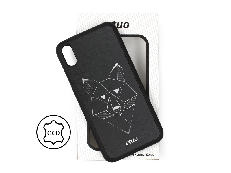 Etui na telefon Leather Case – czarny – geometryczny wilk