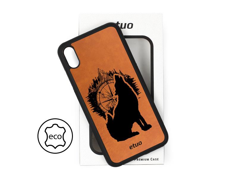 Etui na telefon Leather Case – cynamonowy brąz – górski wilk
