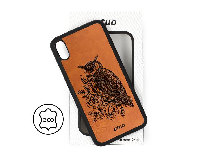 Etui na telefon Leather Case – cynamonowy brąz – sowa