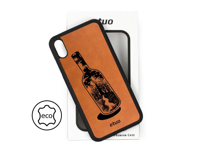 Etui na telefon Leather Case – cynamonowy brąz – butelka