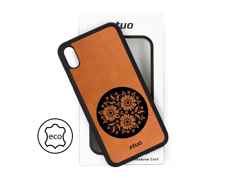 Etui na telefon Leather Case – cynamonowy brąz – kwiaty