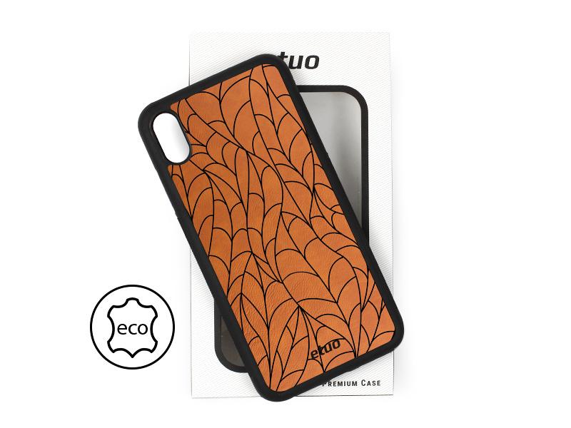 Etui na telefon Leather Case – cynamonowy brąz – liście
