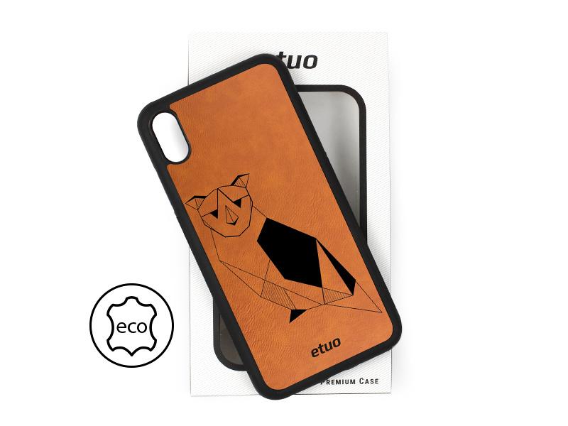 Etui na telefon Leather Case – cynamonowy brąz – geometryczna sowa