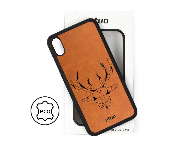 Etui na telefon Leather Case – cynamonowy brąz – geometryczny jeleń