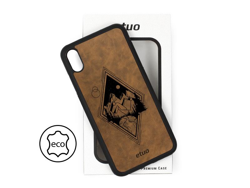 Etui na telefon Leather Case – ciemna czekolada – górski widok
