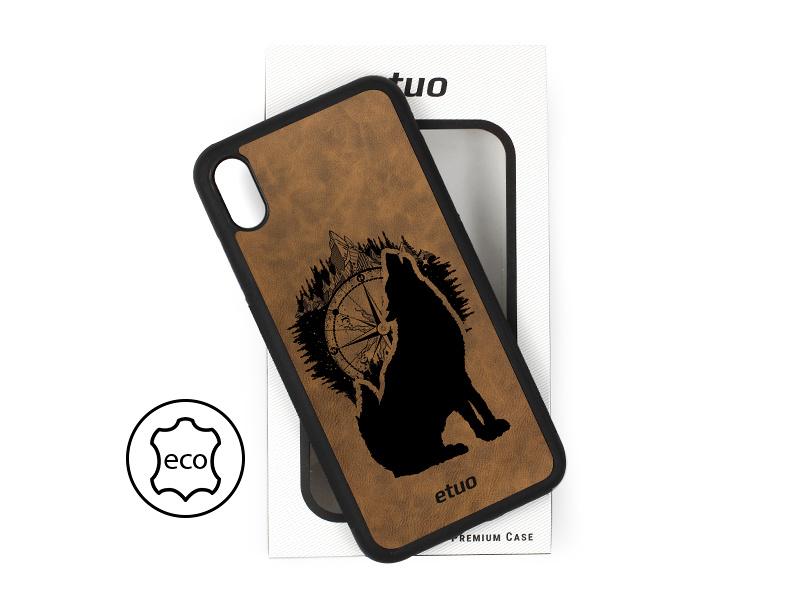 Etui na telefon Leather Case – ciemna czekolada – górski wilk