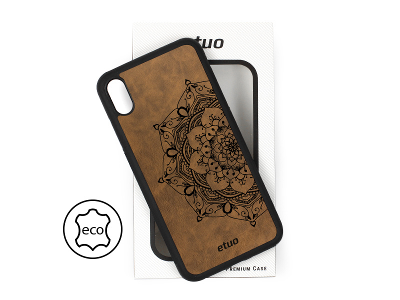 Etui na telefon Leather Case – ciemna czekolada – mandala