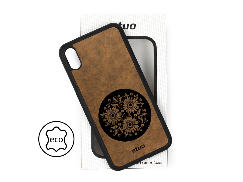 Etui na telefon Leather Case – ciemna czekolada – kwiaty