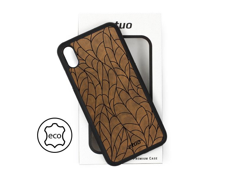 Etui na telefon Leather Case – ciemna czekolada – liście