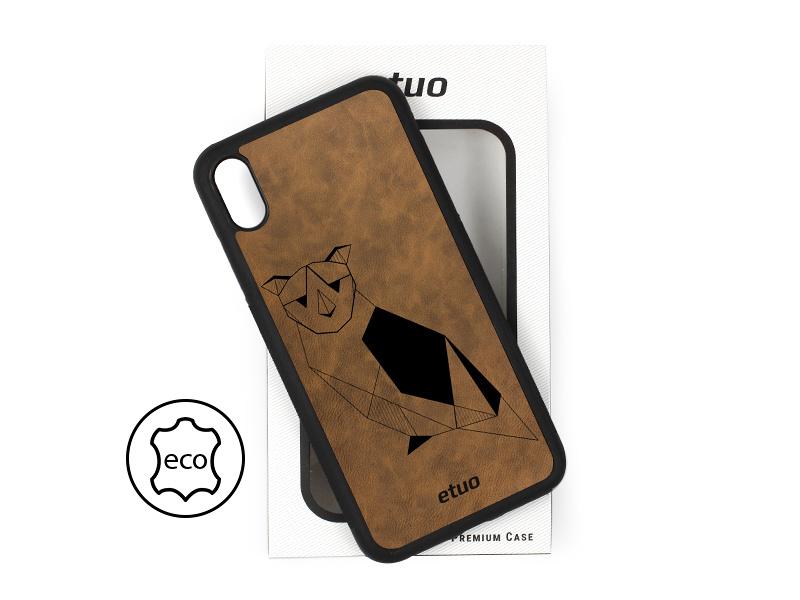 Etui na telefon Leather Case – ciemna czekolada – geometryczna sowa