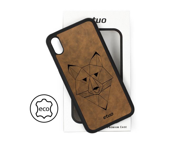 Etui na telefon Leather Case – ciemna czekolada – geometryczny wilk