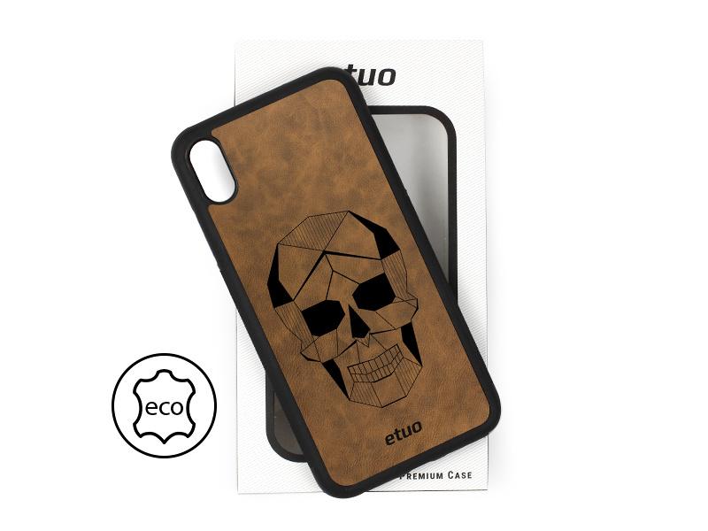 Etui na telefon Leather Case – ciemna czekolada – czaszka