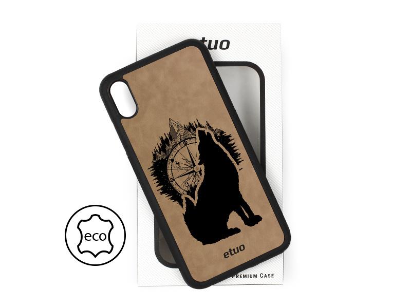 Etui na telefon Leather Case – szary – górski wilk