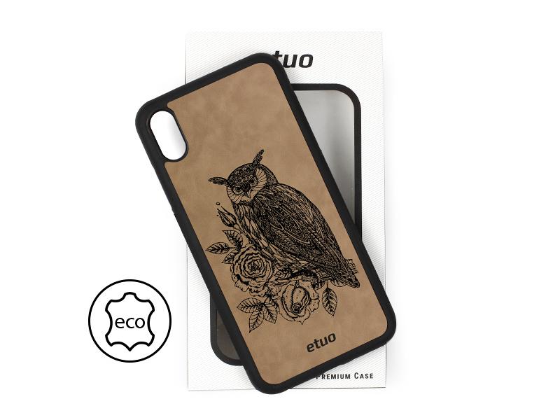 Etui na telefon Leather Case – szary – sowa