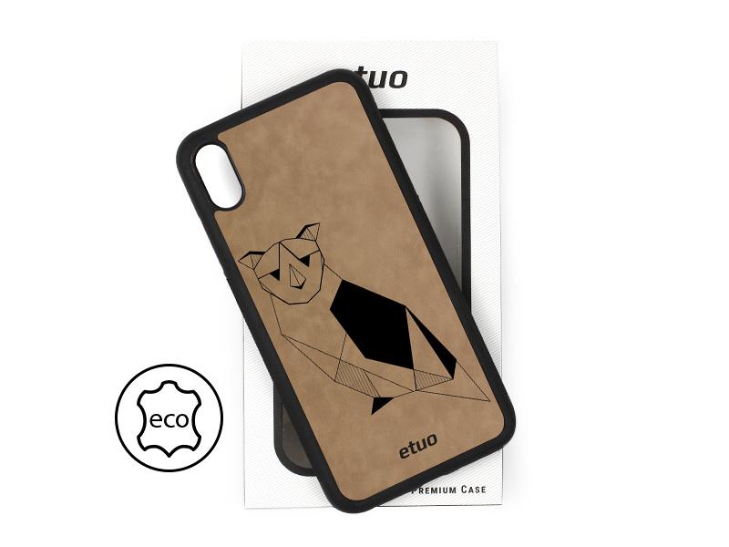 Etui na telefon Leather Case – szary – geometryczna sowa