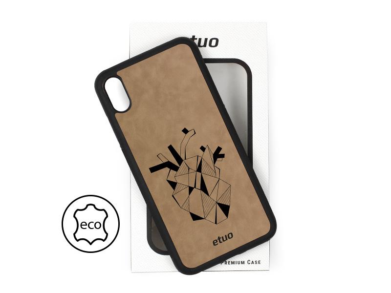 Etui na telefon Leather Case – szary – serce