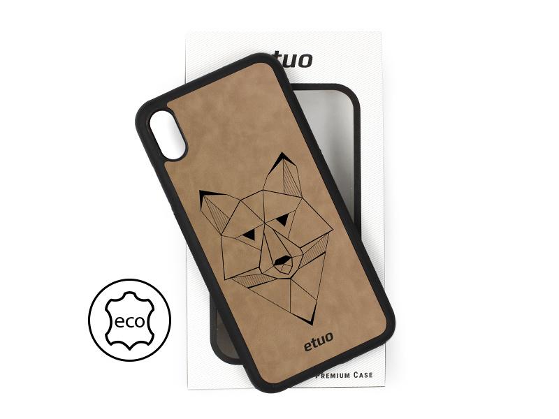 Etui na telefon Leather Case – szary – geometryczny wilk