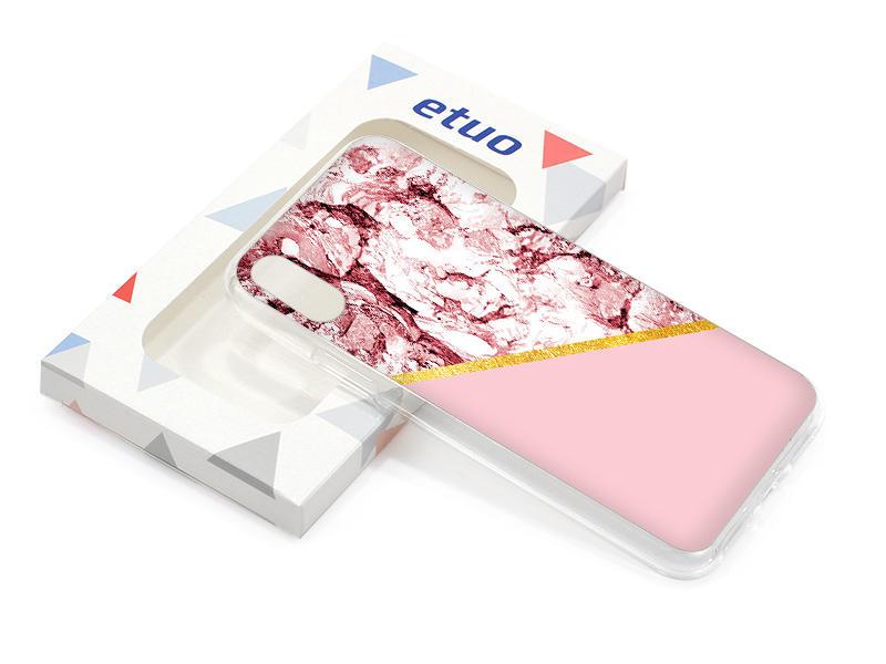 Etui na telefon – Marble GOLD – Różowy marmur ze zÅ'otym paskiem